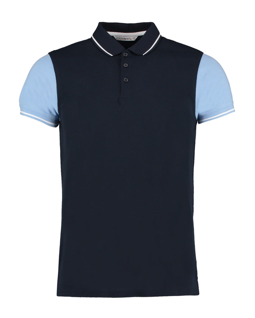 Mens Contrast Coloured Sleeve Polo Shirt - Navy/Light Blue