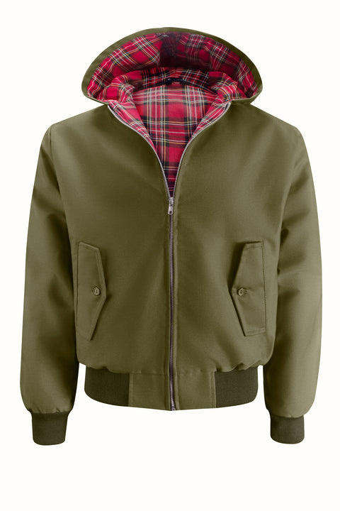 Mens Hooded Harrington Jacket - Olive