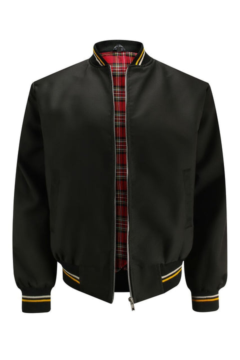 Monkey Jacket with Tartan Lining - Black