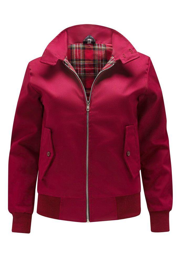 Womens Classic Harrington Jacket - Burgundy