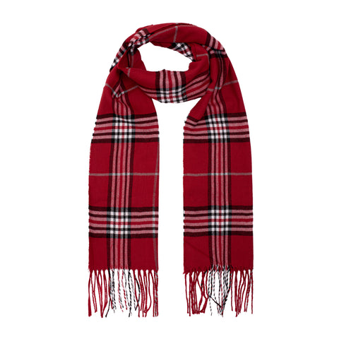 Classic Check Tartan Scarf - Red