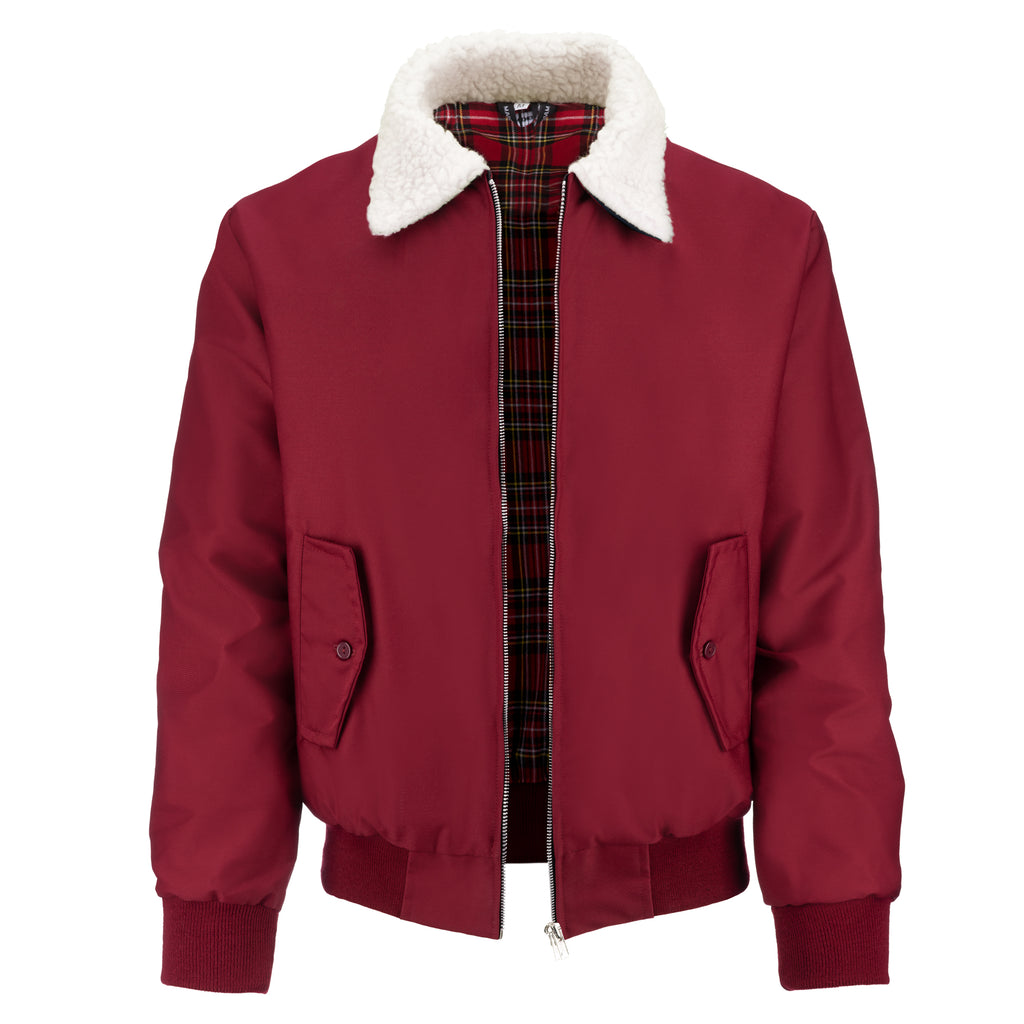 Mens Harrington Jacket with White Sherpa Collar - Burgundy