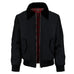 Mens Harrington Jacket with Black Sherpa Collar - Black