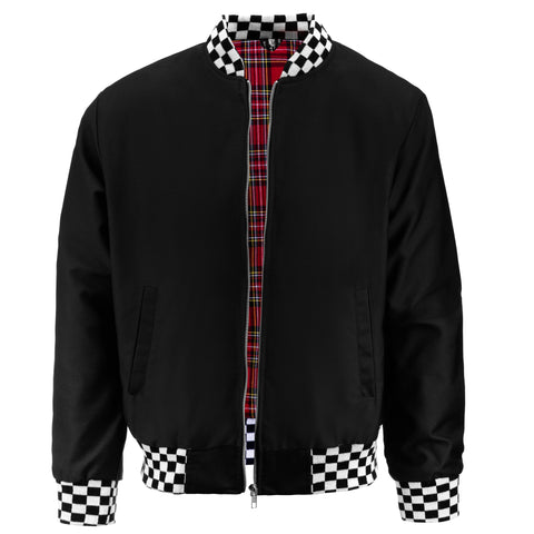 Mens Monkey Jacket with Check Collar - Black/White