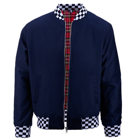 Mens Monkey Jacket with Check Collar - Navy/White