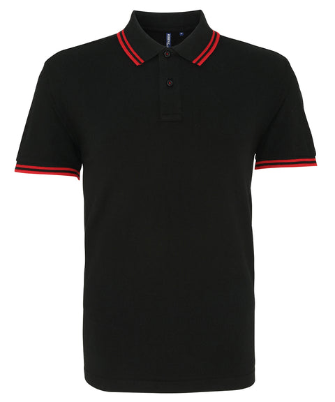 Mens Tipped Short Sleeve Polo Shirt - Black/Red