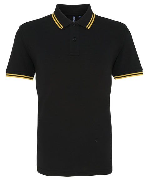 Mens Tipped Short Sleeve Polo Shirt - Black/Yellow