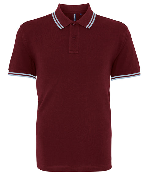 Mens Tipped Short Sleeve Polo Shirt - Burgundy/Light Blue