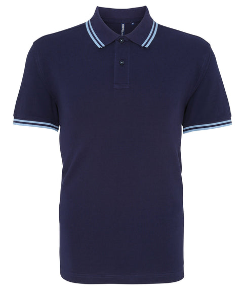 Mens Tipped Short Sleeve Polo Shirt - Navy/Light Blue