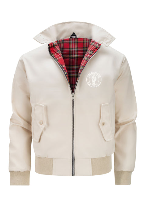 Mens Classic Harrington Jacket - Beige (with Northern Soul badge)