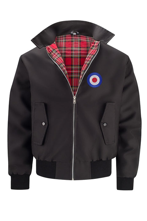 Mens Classic Harrington Jacket - Black (with MOD badge)