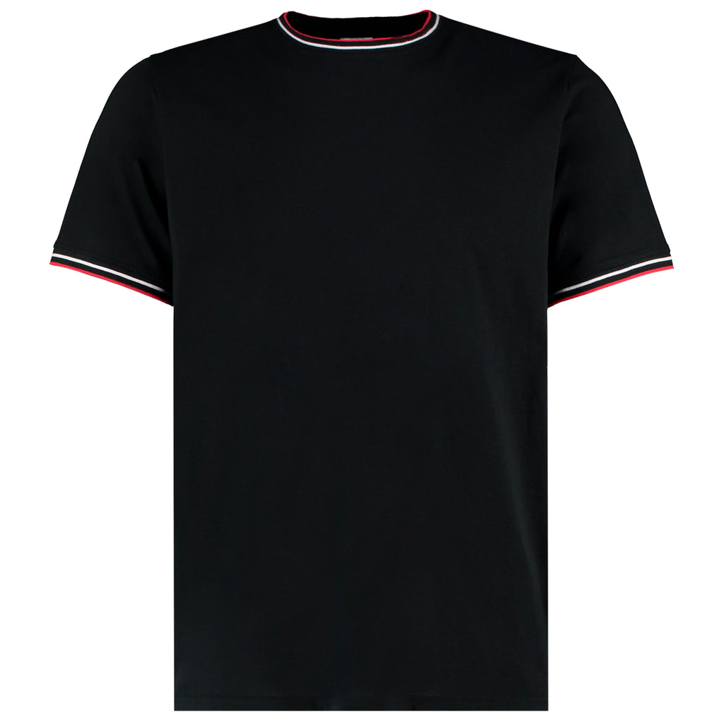 Mens Tipped T-Shirt - Black/White/Red