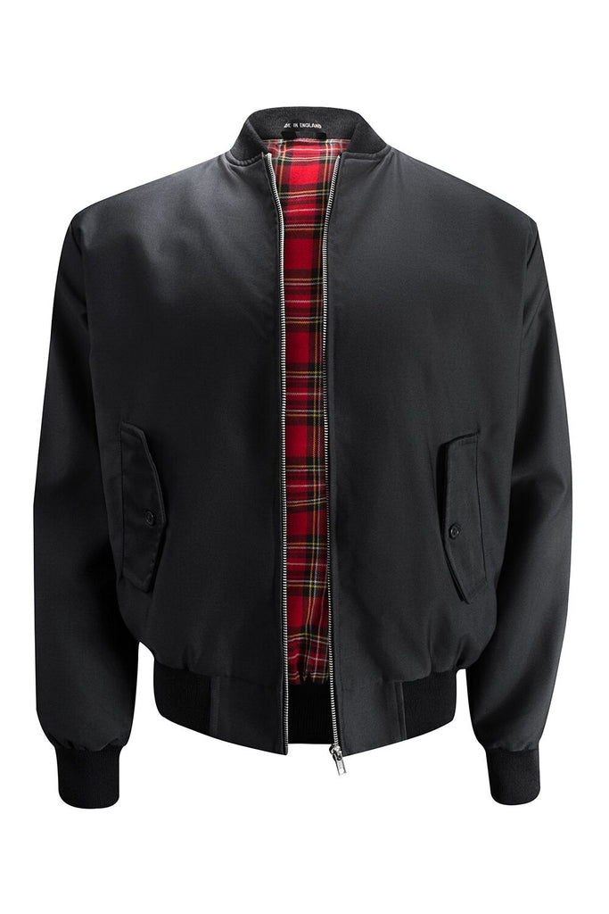 Mens Harrington Jacket with Ribbed Collar - Black