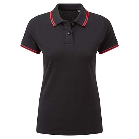 Womens Tipped Polo Shirt - Black/Red