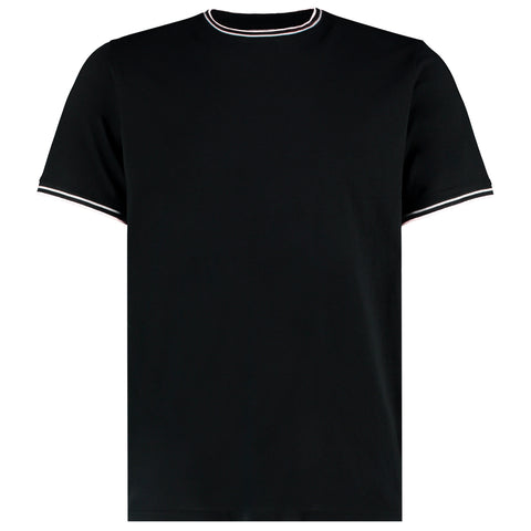Mens Tipped T-Shirt - Black/White/Grey