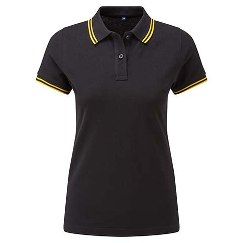 Womens Tipped Polo Shirt - Black/Yellow
