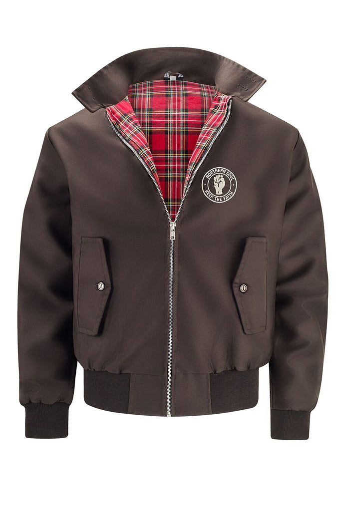Mens Classic Harrington Jacket - Brown (with Northern Soul badge)