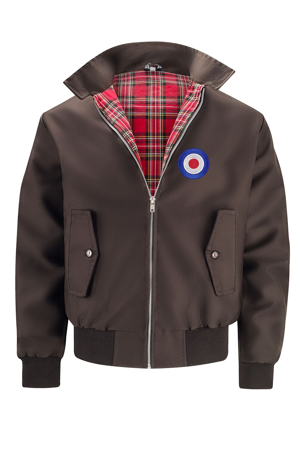 Mens Classic Harrington Jacket - Brown (with MOD badge)