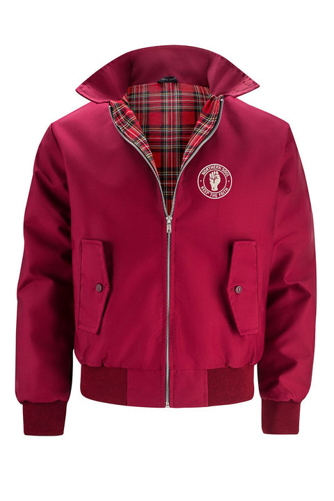 Mens Classic Harrington Jacket - Burgundy (with Northern Soul badge)