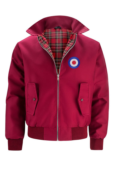 Mens Classic Harrington Jacket - Burgundy (with MOD badge)