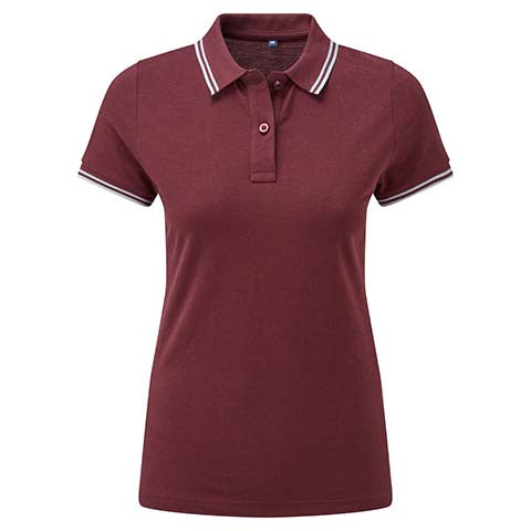 Womens Tipped Polo Shirt - Burgundy/Light Blue