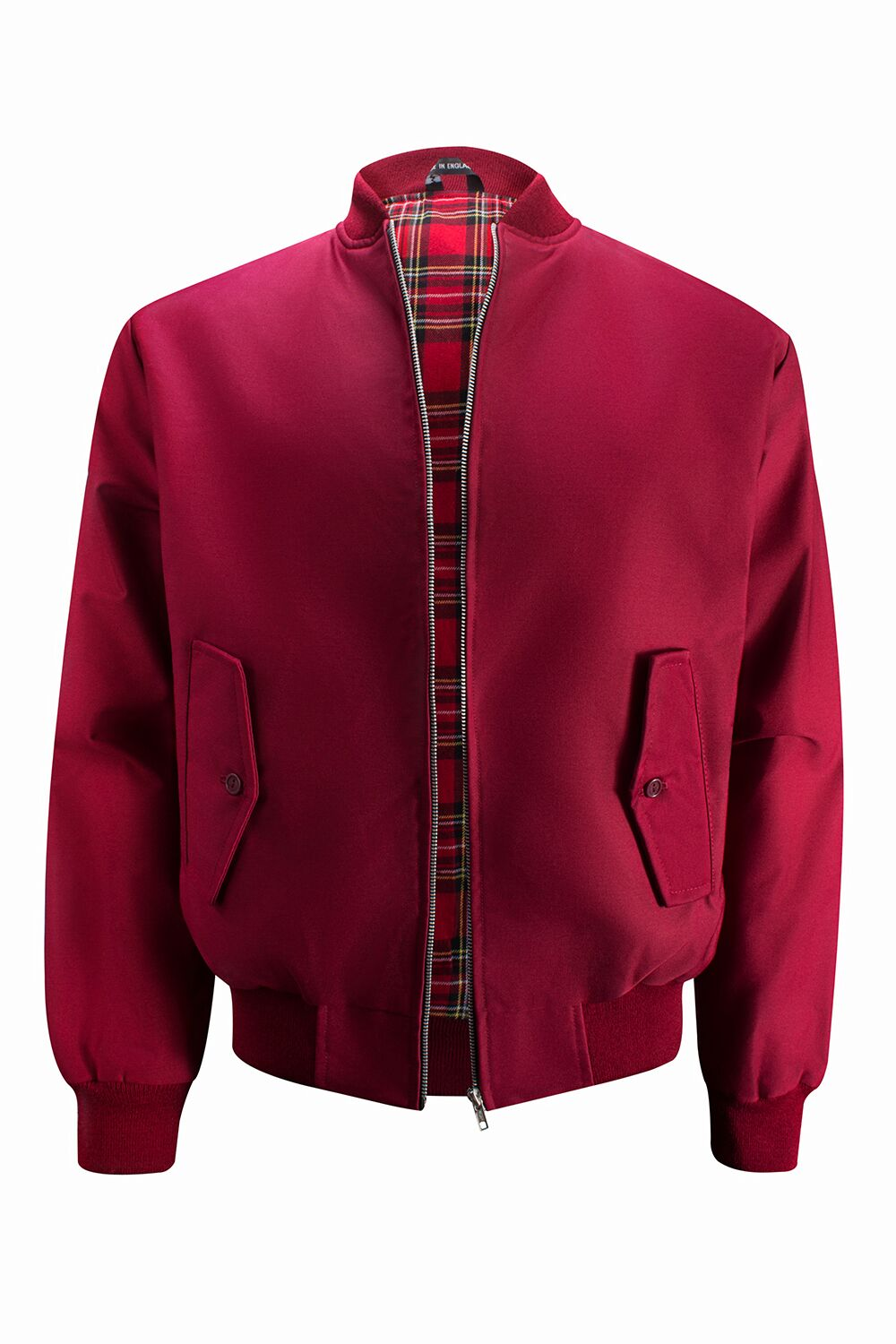 Mens Harrington Jacket with Ribbed Collar - Burgundy