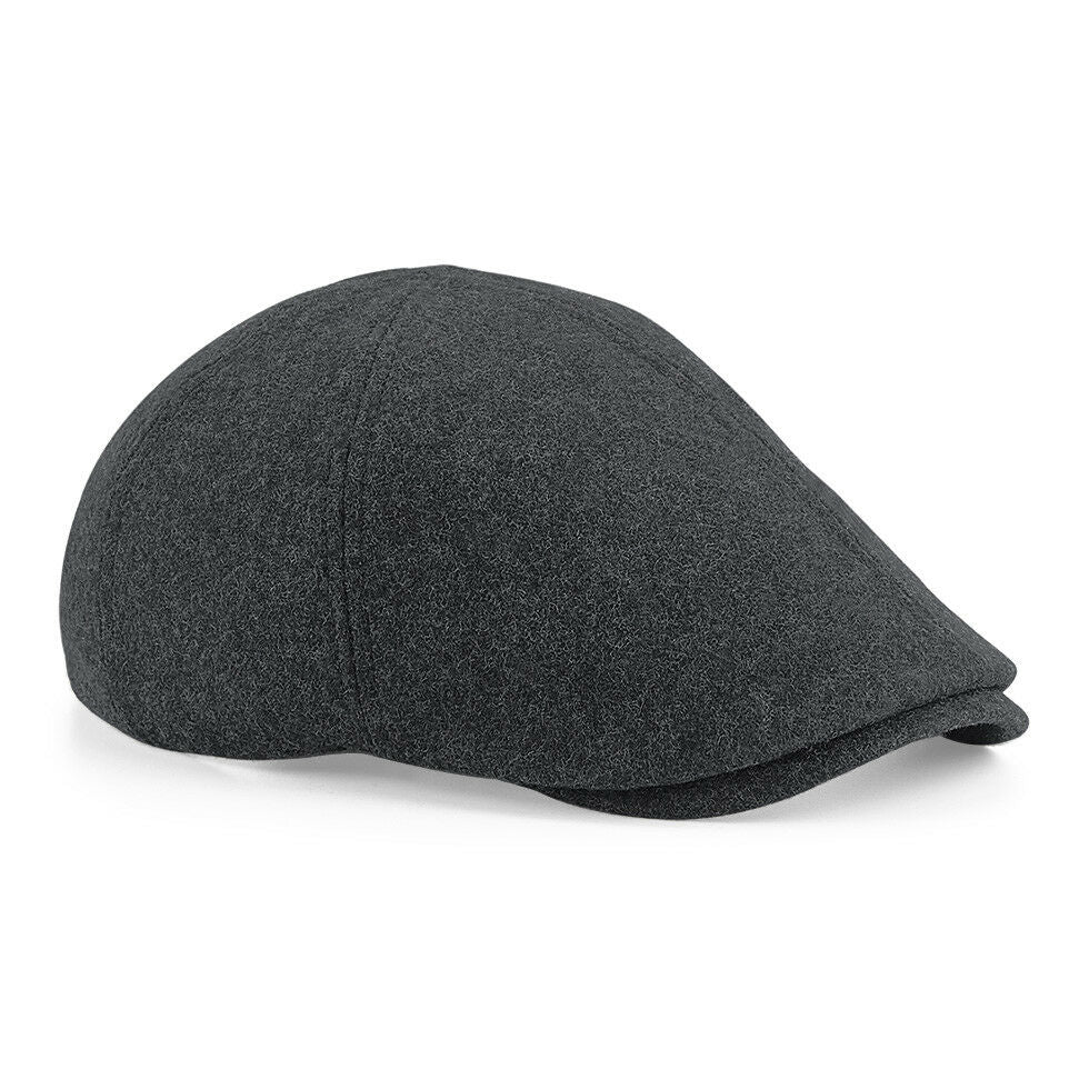 Adult Melton Wool Ivy Flat Cap - Charcoal