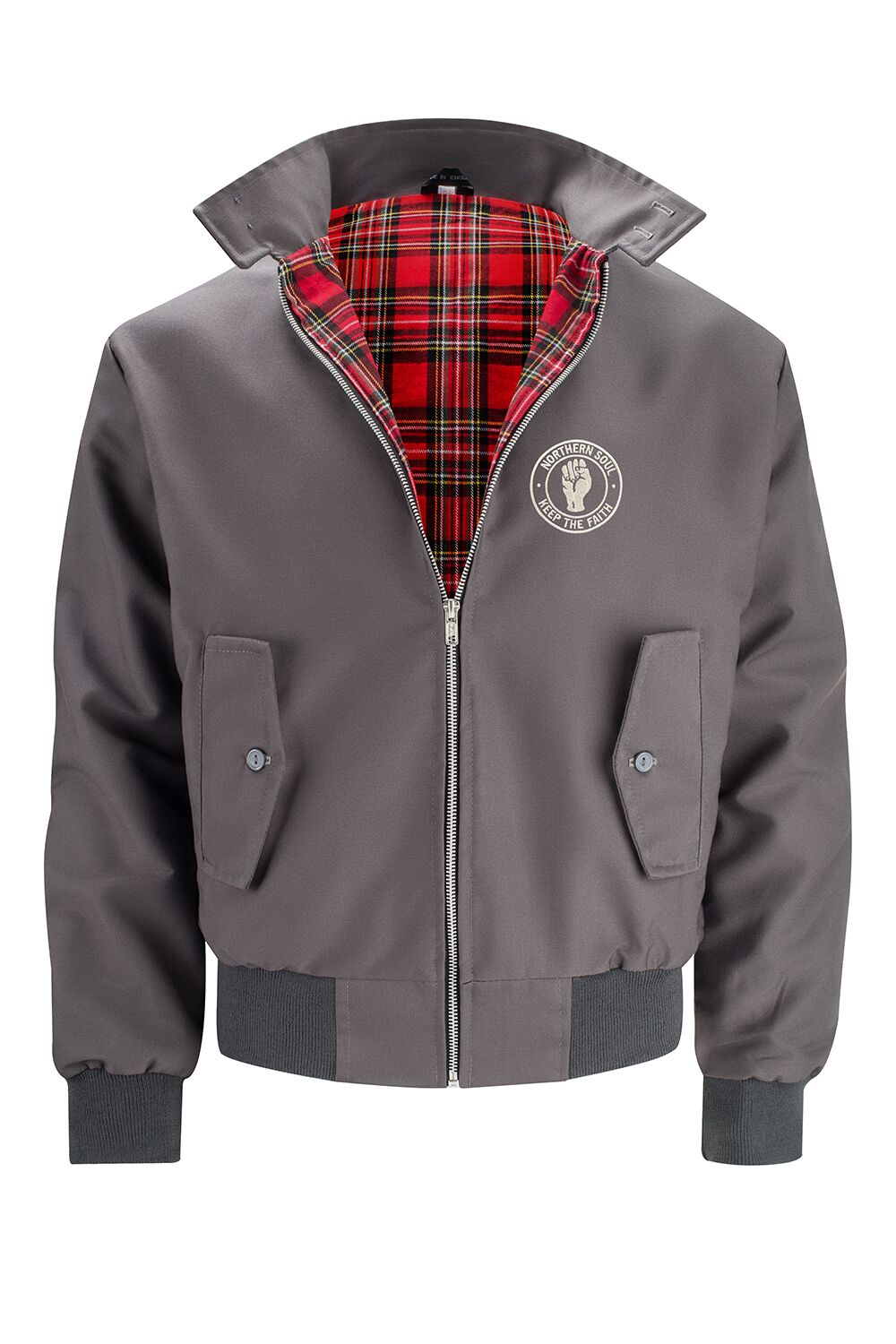 Mens Classic Harrington Jacket - Grey (with Northern Soul badge)