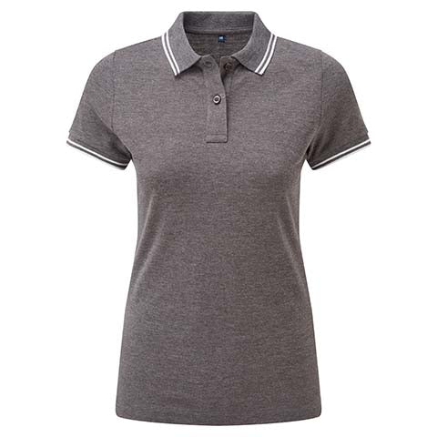 Womens Tipped Polo Shirt - Grey/White