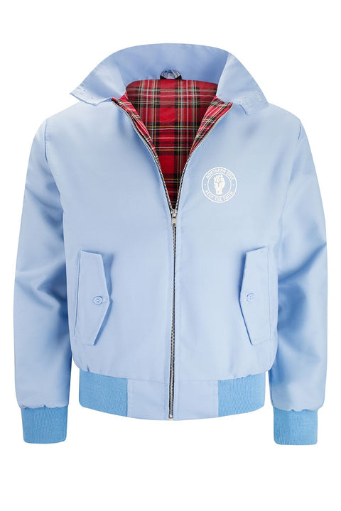 Mens Classic Harrington Jacket - Light Blue (with Northern Soul badge)