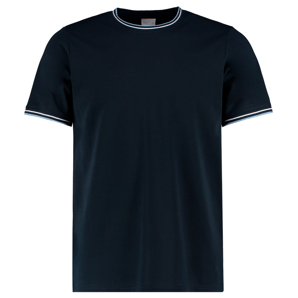 Mens Tipped T-Shirt - Navy/White/Light Blue