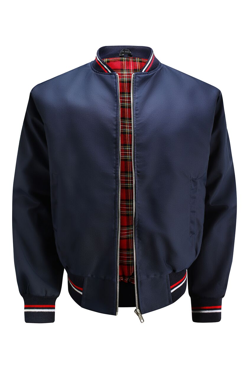 Monkey Jacket with Tartan Lining - Navy