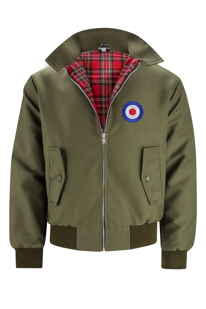 Mens Classic Harrington Jacket - Olive (with MOD badge)