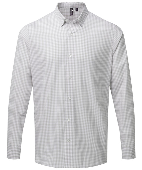 Mens Gingham Check Long Sleeve Shirt - Silver/White