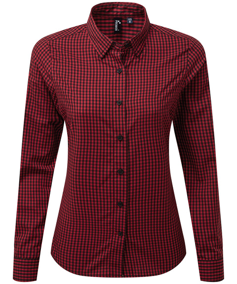 Womens Gingham Check Long Sleeve Shirt - Black/Red