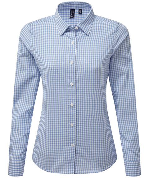 Womens Gingham Check Long Sleeve Shirt - Light Blue/White