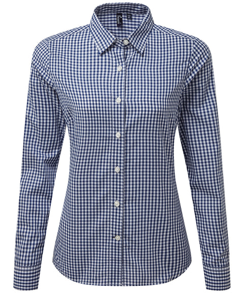 Womens Gingham Check Long Sleeve Shirt - Navy/White