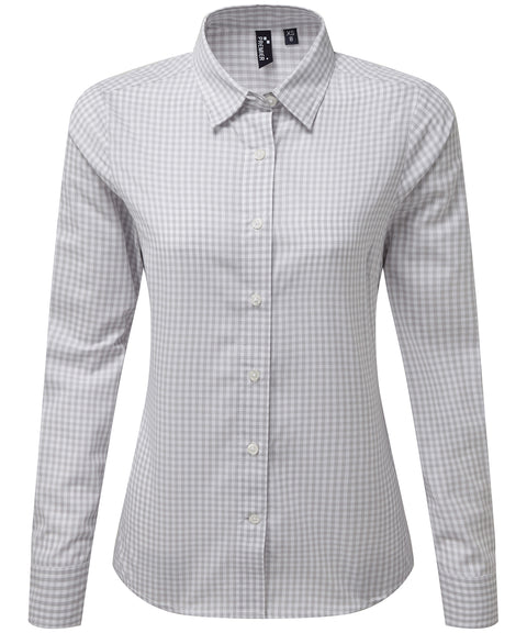 Womens Gingham Check Long Sleeve Shirt - Silver/White