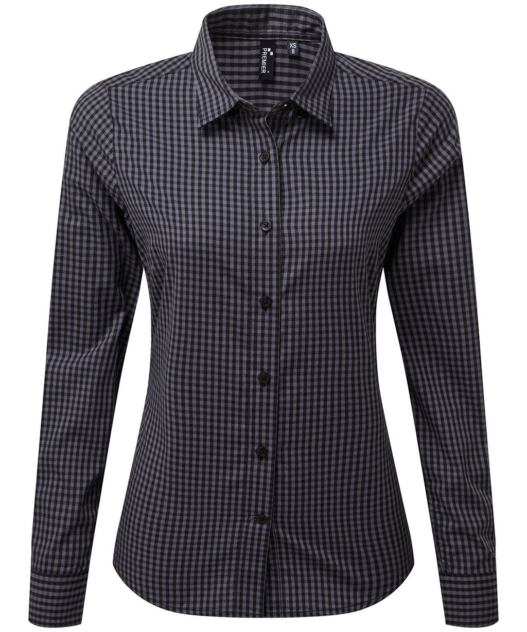 Womens Gingham Check Long Sleeve Shirt - Steel/Black