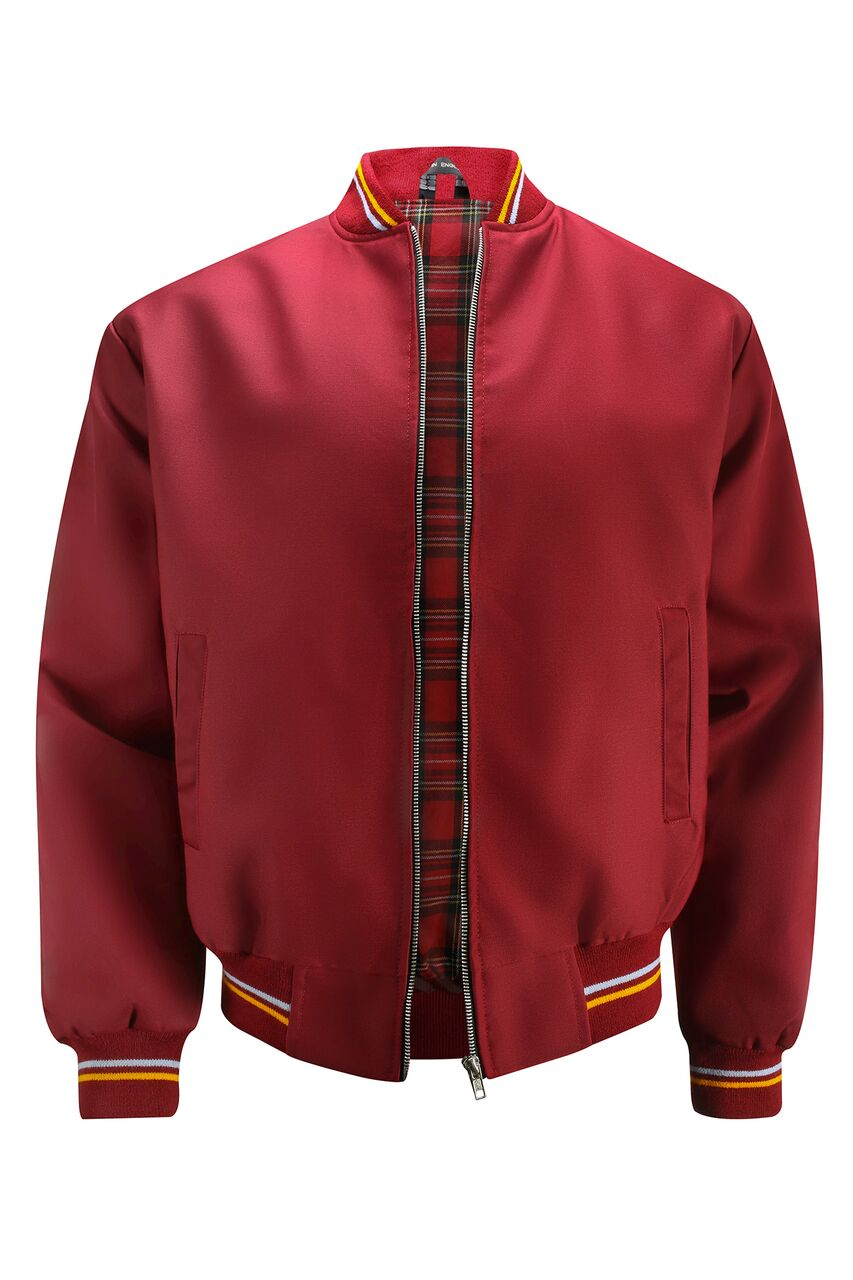 Mens Monkey Jacket with Tartan Lining - Burgundy