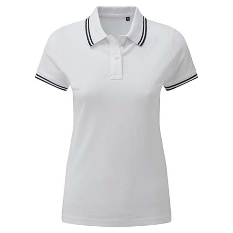 Womens Tipped Polo Shirt - White/Black