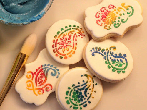 Paisley Cookie Stencil,Decorating cookie with Royal Icing (Video)| Torten Schablone