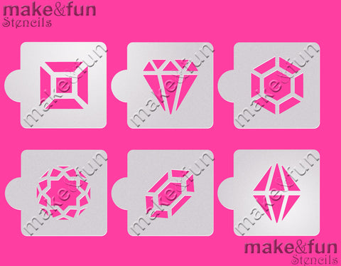 6 pcs Diamond cookie stencil, Airbrush stencils|6 Stück Schablonen, Airbrush und Royal Icing