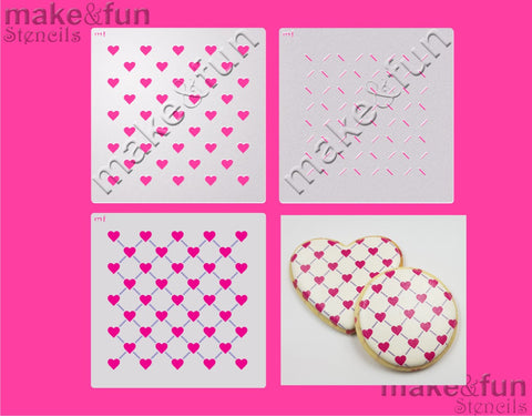 2 Piece Stencil set, Heart Cookie Stencil Airbrushing Stencil|Fellmuster Schablonen, Airbrush und Royal Icing