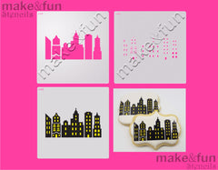 2 Piece Stencil set, City Stencil Airbrushing Stencil|Fellmuster Schablonen, Airbrush und Royal Icing