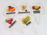 12 pcs Gelato Flavor Markers, Ice Cream Labels, Flavor Tags,Gelato Stickers, Ice Cream Sticks