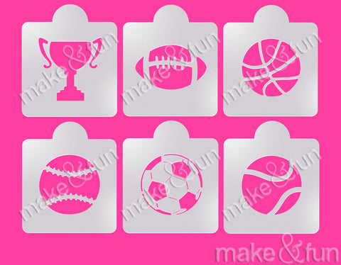 6 pcs Ball Cookie Stencil, Custom Stencil|6 Stück Ball Torten Shablonen, Airbrush