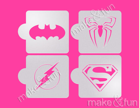 4 pcs Superheroes Cookie Stencil, Decoupage|4 Stück Super Helden Schablonen, Airbrush und Royal Icing