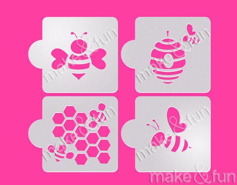 4 pcs Bee Honey Cookie Stencil, Cake stencil Royal Icing|4 Stück Biene Schablonen, Airbrush und Royal Icing