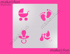 Baby Shower cookie Stencil for chocolate covered Oreos|Kuchen Schablonen, Airbrush und Royal Icing